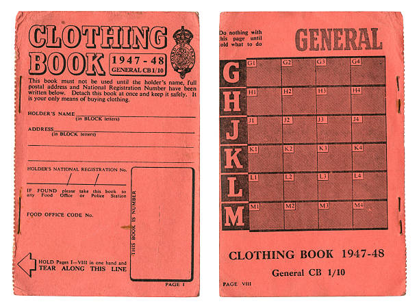"""British clothing coupon book 1947-48 """"Front and back covers of an old British post-war clothes rationing book dated 1947-48. Clothing was rationed from June 1941 until March 1949. The books contained coupons in various colours, to prevent people using all their coupons at once - the Government would announce when each colour could be used, although older coupons could be saved up and used with new ones. Each adult was allocated 60 coupons per year (later reduced to 48) and children were allowed an extra 10 coupons above the adult ration. More rationing:"""" war effort stock pictures, royalty-free photos & images"""