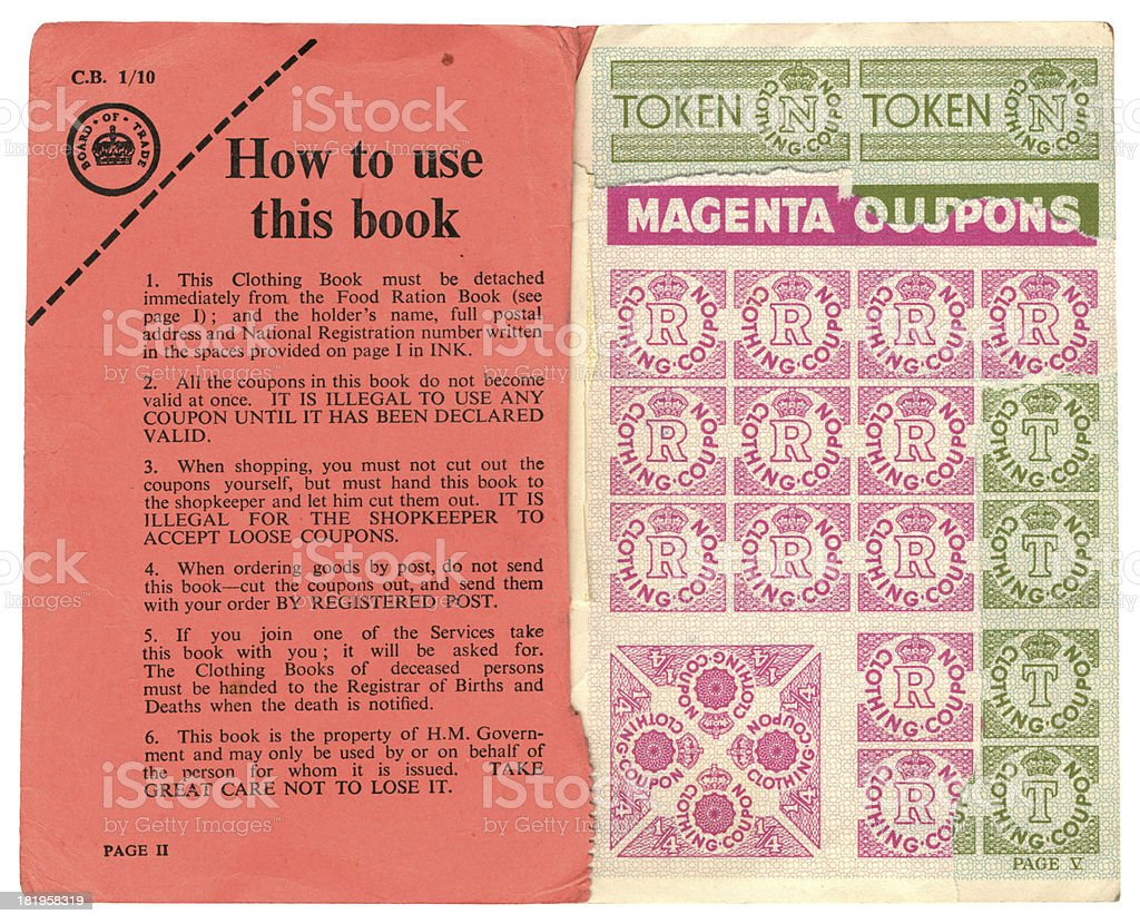 British clothing ration book with coupons 1947-48 stock photo