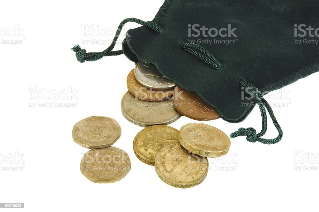 British Coins and a Small Purse royalty-free stock photo