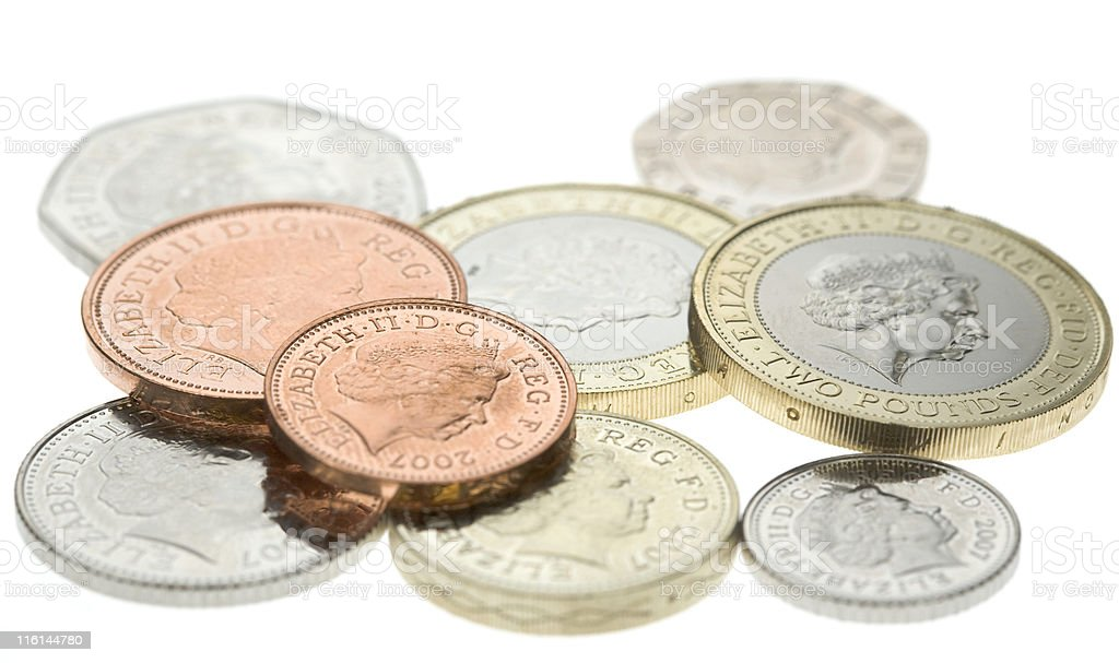 British Coins Isolated On White stock photo