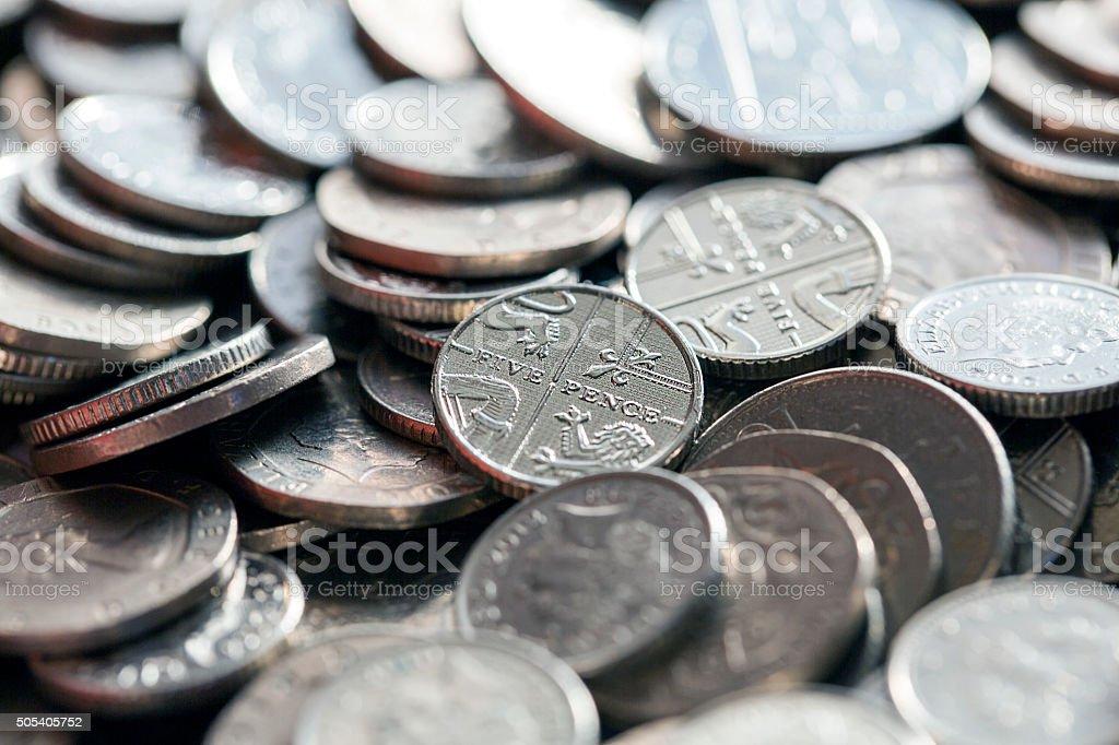 British Coins - Silver stock photo