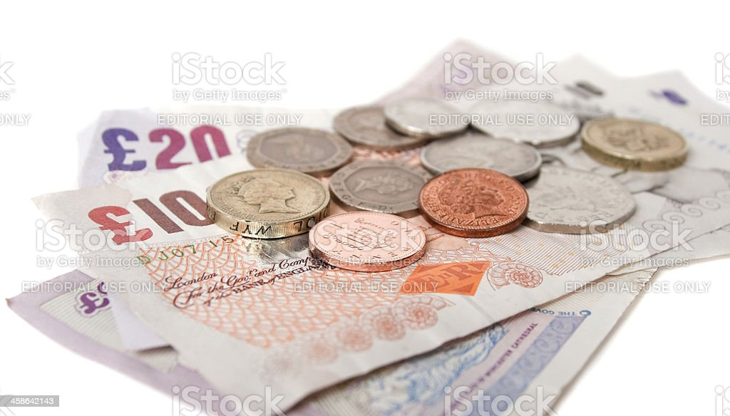 British coins with banknotes royalty-free stock photo