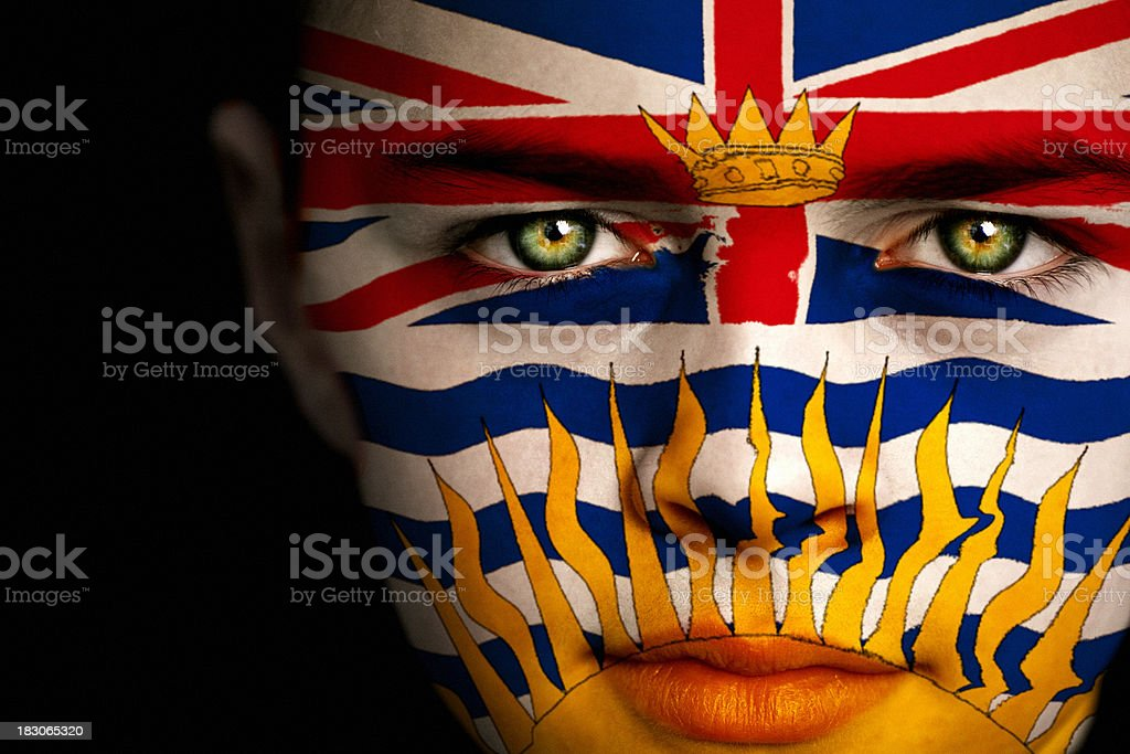 British Columbia Canadian Flag Boy stock photo