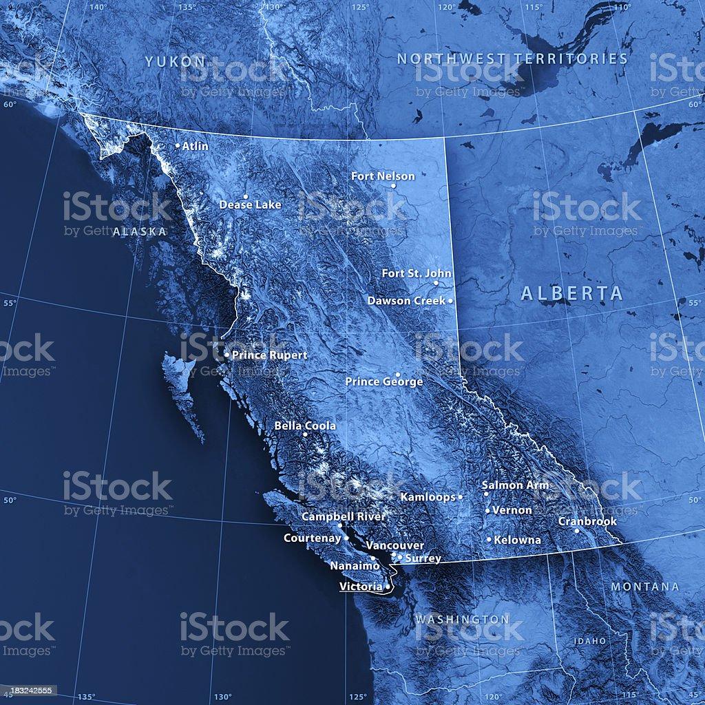 British Columbia Cities Topographic Map royalty-free stock photo