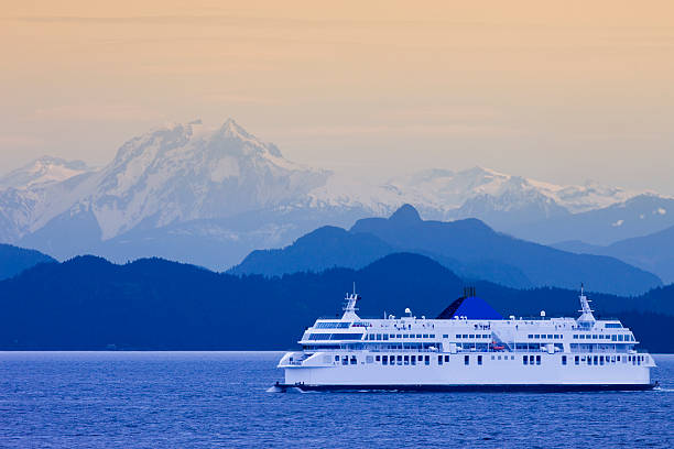 British Columbia Ferry Ferry crossing between Vancouver and Vancouver Island british columbia stock pictures, royalty-free photos & images