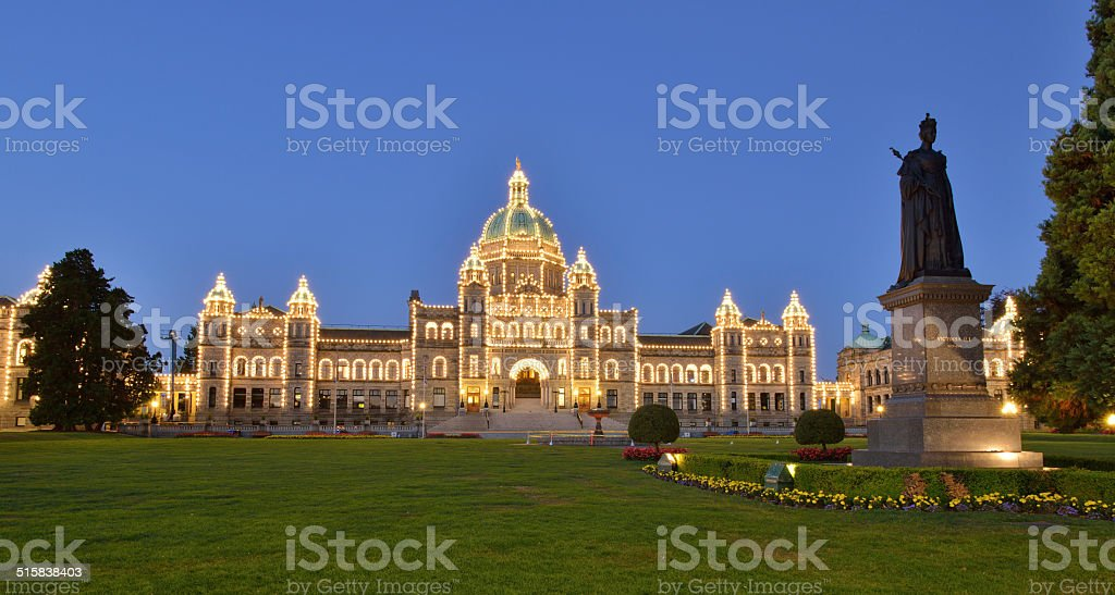 British Columbia Parliament Buildings at early dawn stock photo