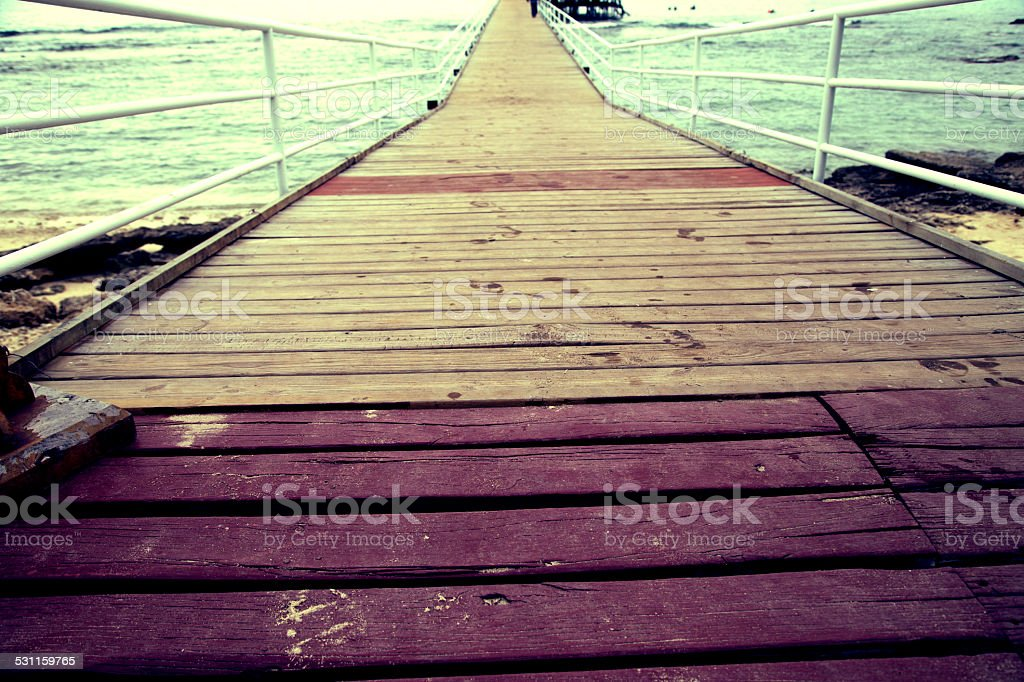 British Columbia, Pier, Mayne Island, Wood stock photo
