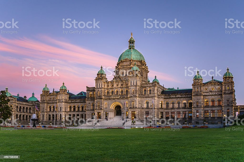 British Columbia Provincial Parliament at Sunset stock photo