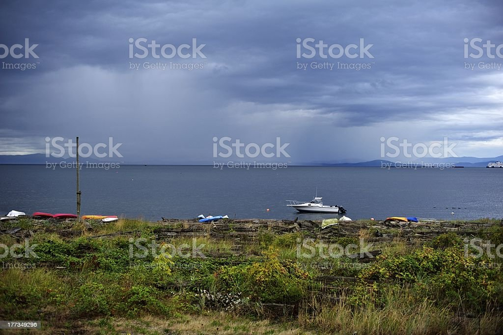 British Columbia:  Salish Sea rain stock photo