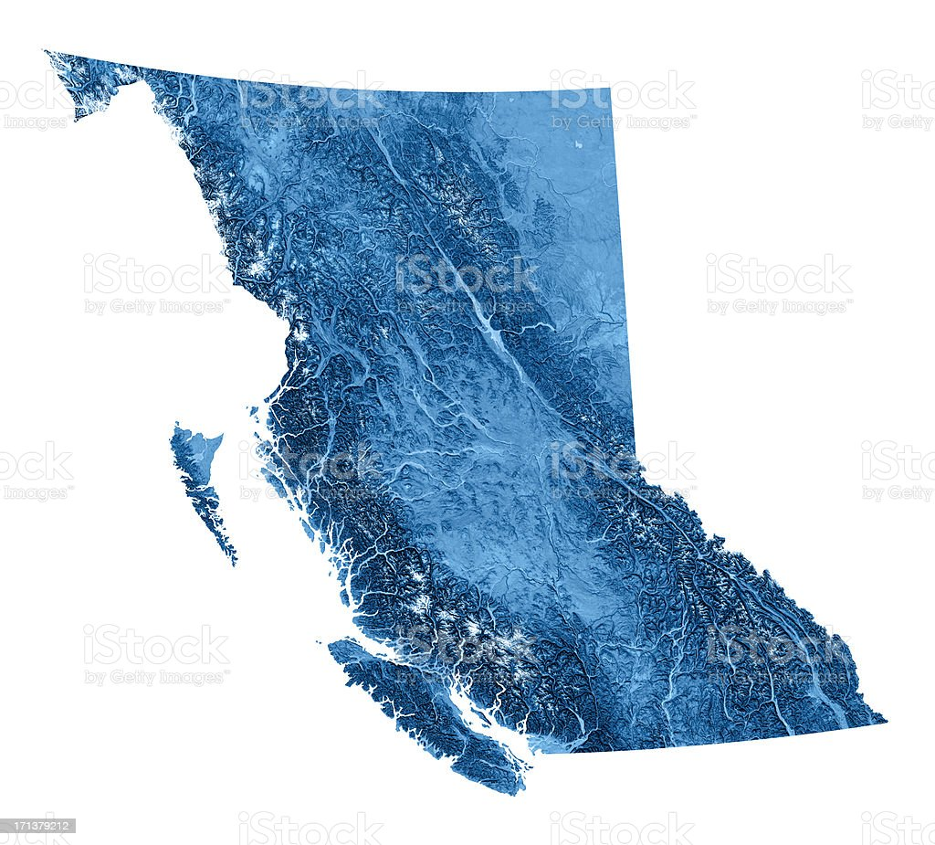 British Columbia Topographic Map Isolated stock photo