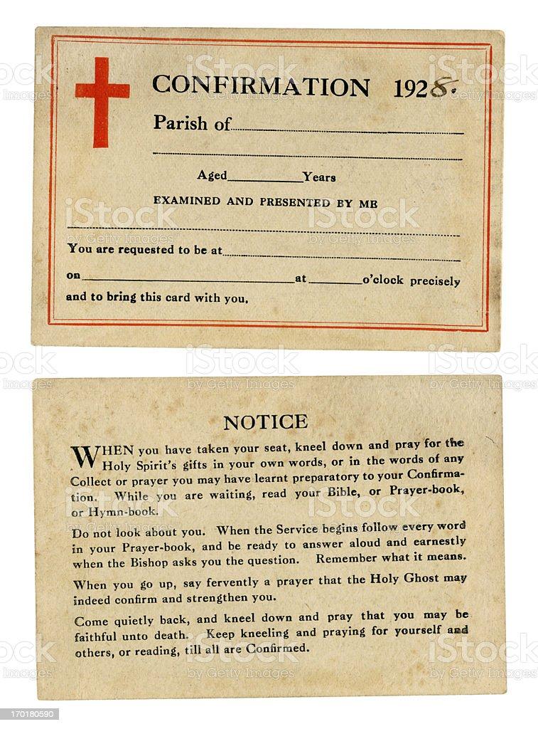 British confirmation card, 1928 royalty-free stock photo