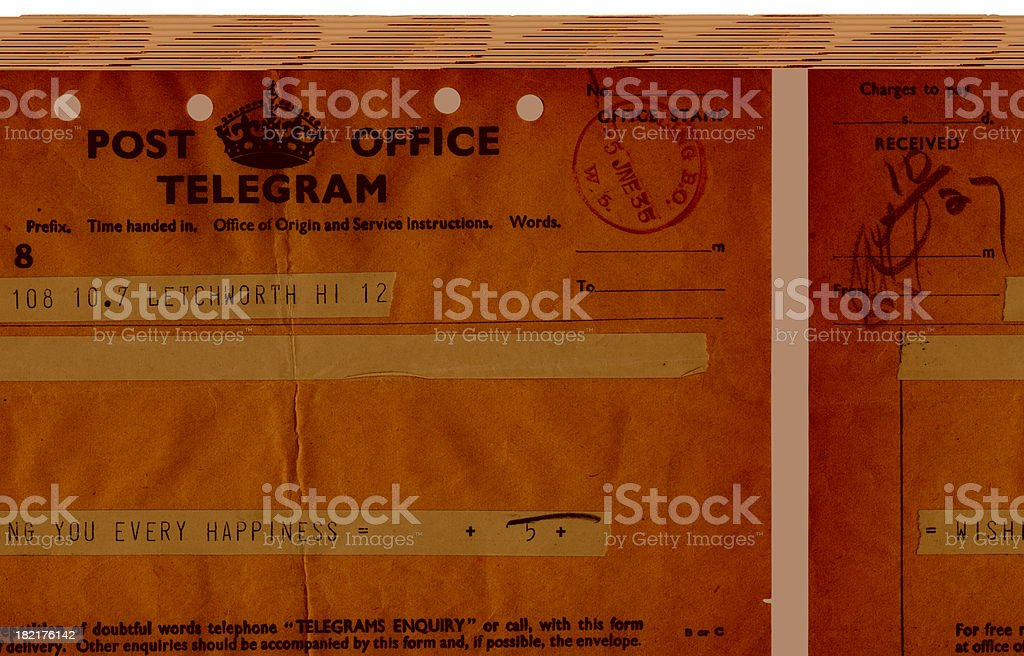British congratulations telegram, 1935 royalty-free stock photo