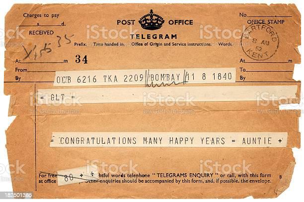 British congratulations telegram from 'Auntie' dated 1952