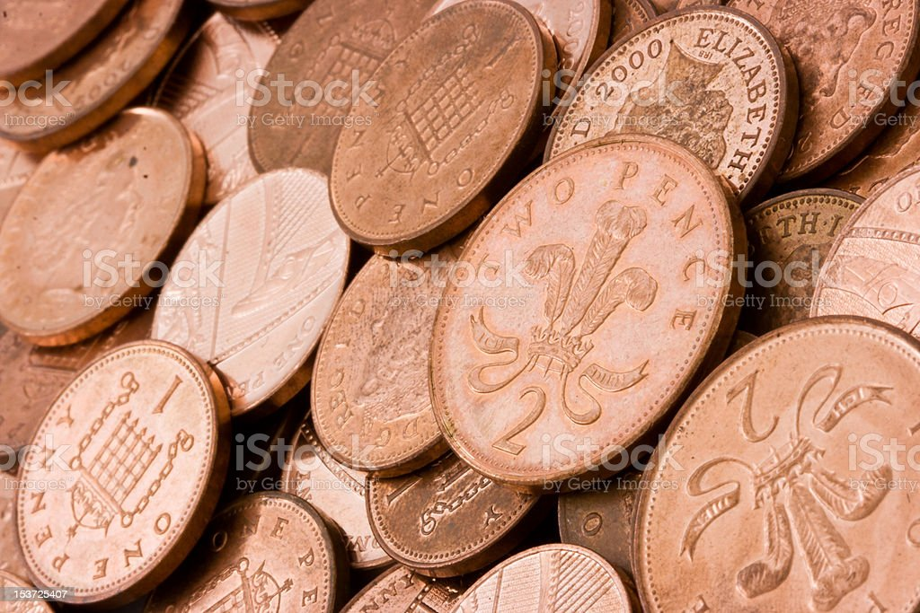 British Copper Coins Background. stock photo