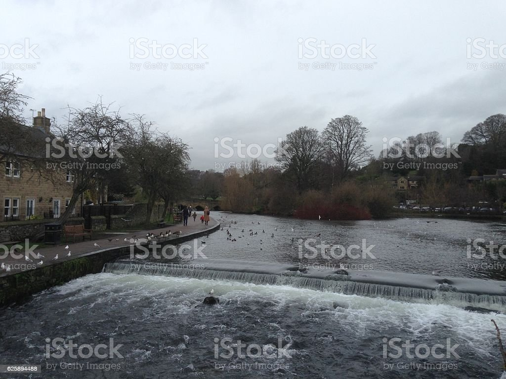 British country house on the riverside stock photo