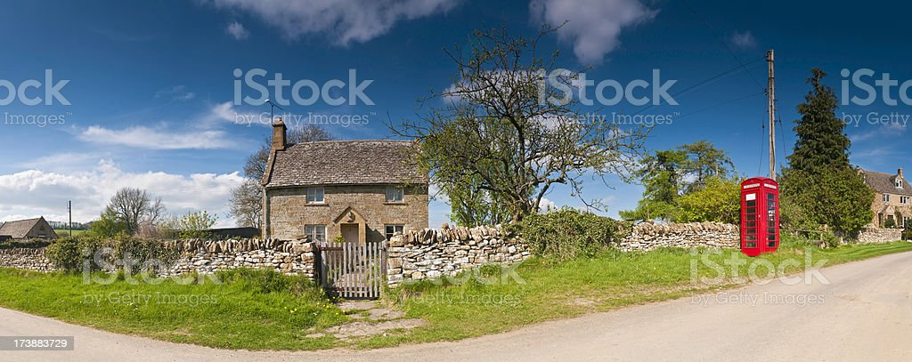British country village red phone box farmhouse royalty-free stock photo