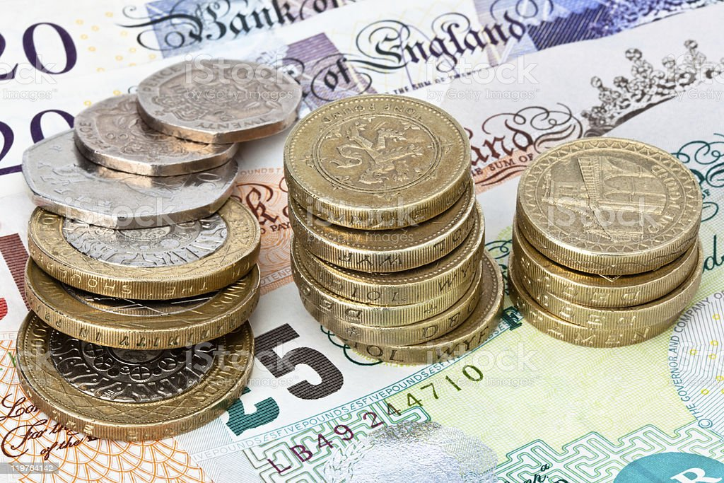 British Currency Coins and Notes stock photo