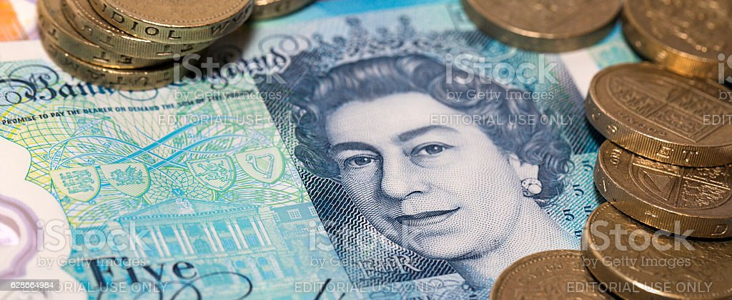 British Currency - Five Pound Note stock photo