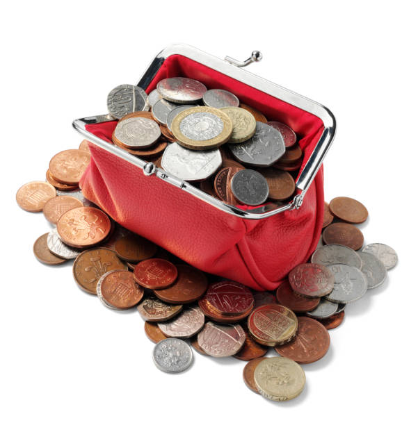 british currency in a red purse - pound sterling isolated bildbanksfoton och bilder