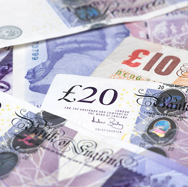 British currency notes stock photo
