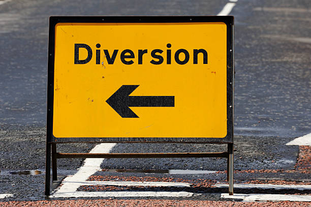 British diversion road sign on a street in Scotland stock photo
