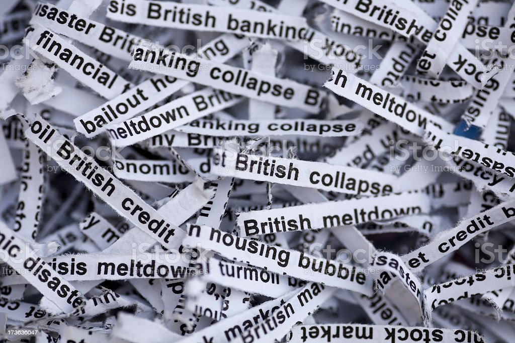 British Economy and Housing Meltdown Disaster stock photo