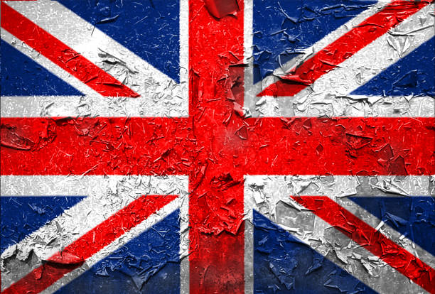 British England UK Flag emblem on metallic texture stock photo