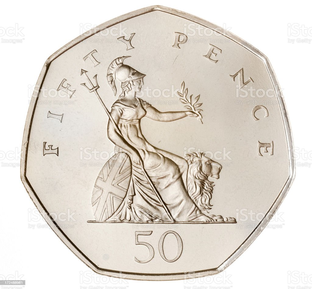 British Fifty Pence Coin (with Clipping Path) stock photo