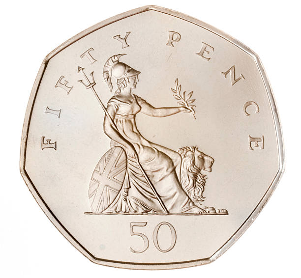 british fifty pence coin (with clipping path) - pound sterling isolated bildbanksfoton och bilder
