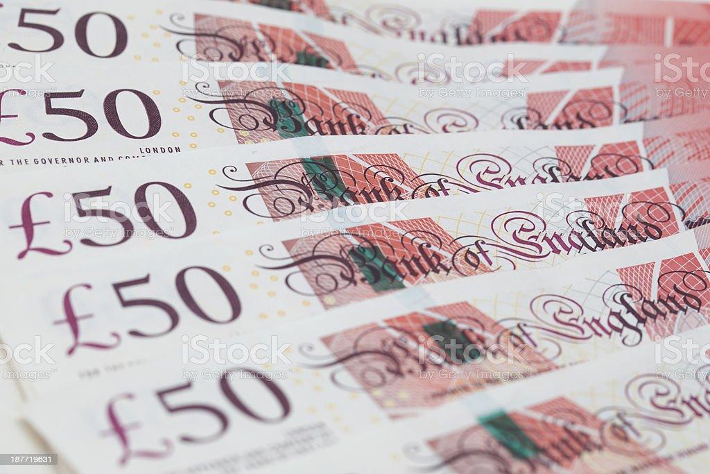 Billet de 50 livres sterling britanniques notes Déployé en éventail de près - Photo