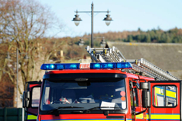 British fire engine attending a call out stock photo