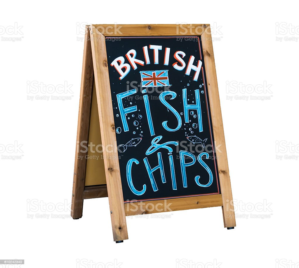 British Fish and Chips chalkboard advertising stand. Isolated on white stock photo