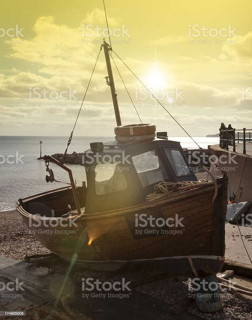 British Fishing Industry: Trawler with sunflare stock photo