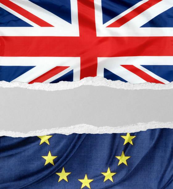 British flag and EU flag stock photo
