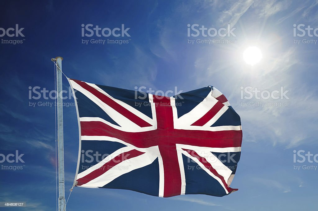 british  flag and pole stock photo