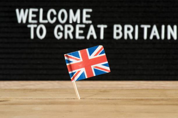 Britischen Flagge Und Slogan Willkommen in Großbritannien – Foto
