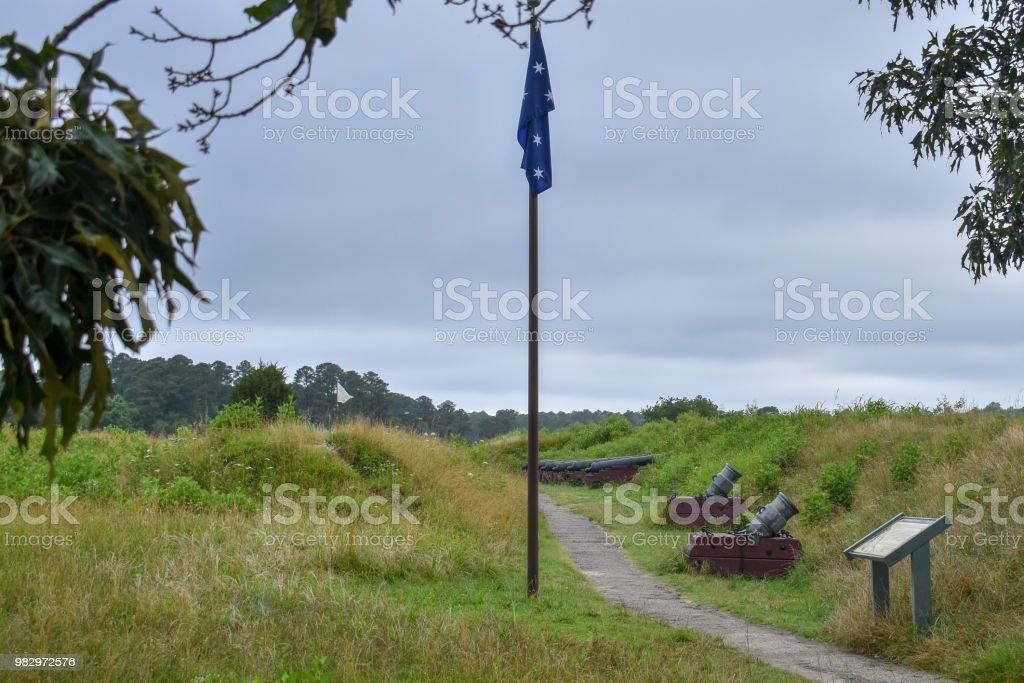 British Flag at Yorktown stock photo