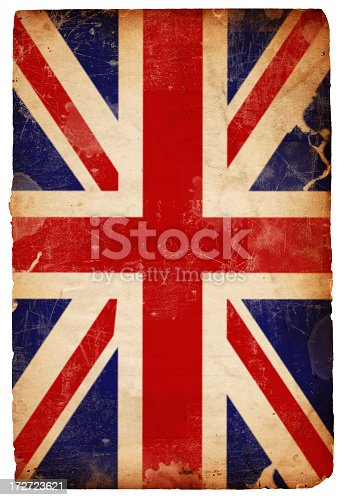 Image of an old British Flag on a grungy piece of isolated XXXL paper. Great background file/design element. See more quality images like this one in my portfolio.