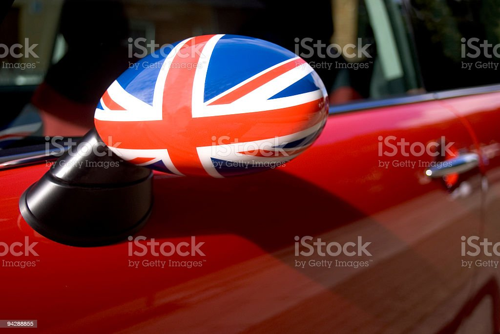British flag on car wing mirror stock photo