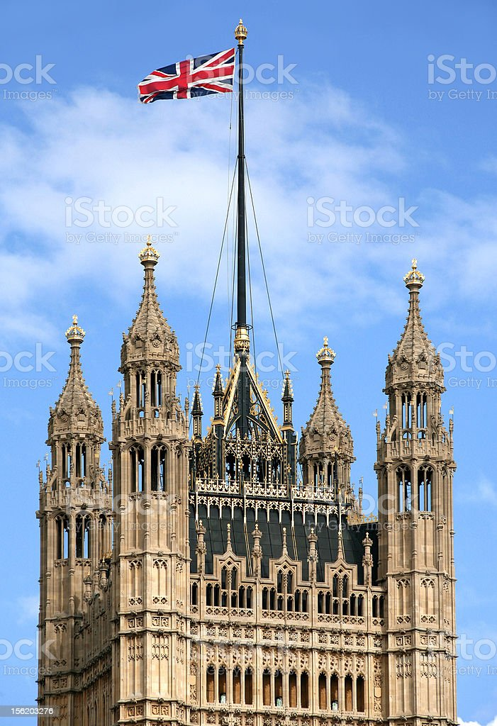 British Flag on Parliament Tower stock photo