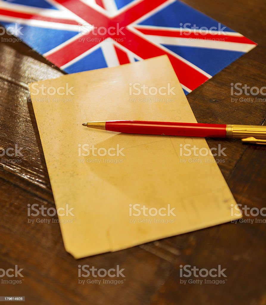 British flag, postcard and pen royalty-free stock photo