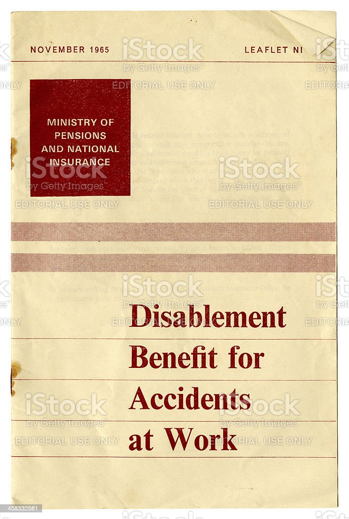 British government disablement benefit information leaflet, 1965 royalty-free stock photo