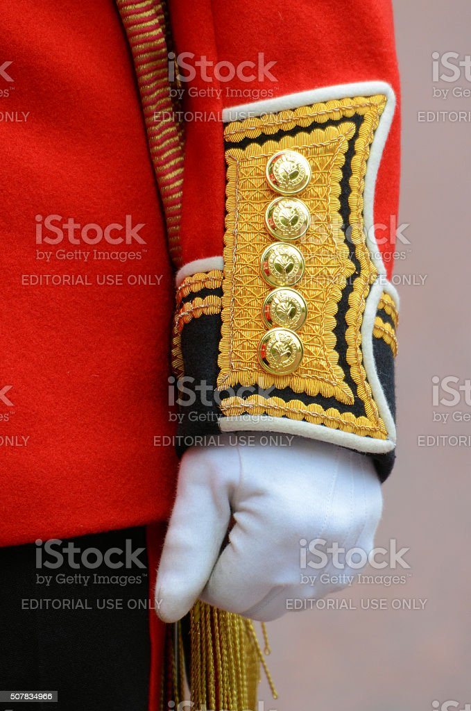 British Guardsman Cuff Detail stock photo