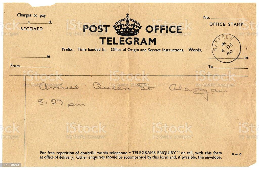 British handwritten notification of arrival telegram, 1940 stock photo