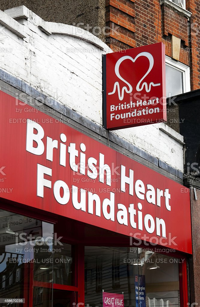 British Heart Foundation charity shop sign royalty-free stock photo
