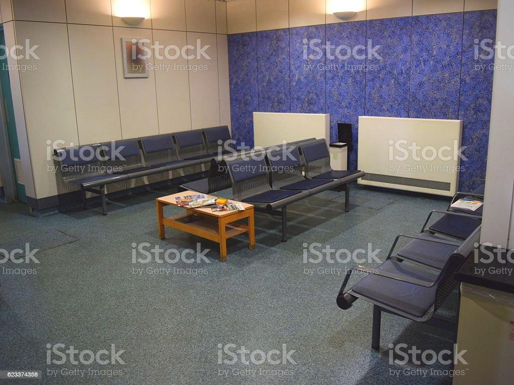 british hospital waiting room internal chairs stock photo