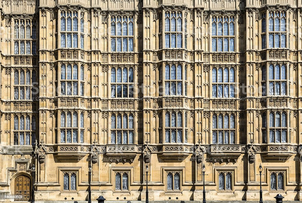 British House of Parliament Contains Numerous Windows royalty-free stock photo