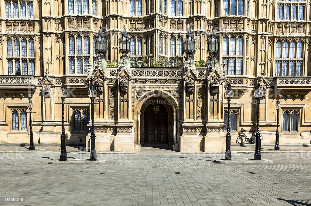 British House of Parliament Entrance with Lamps royalty-free stock photo