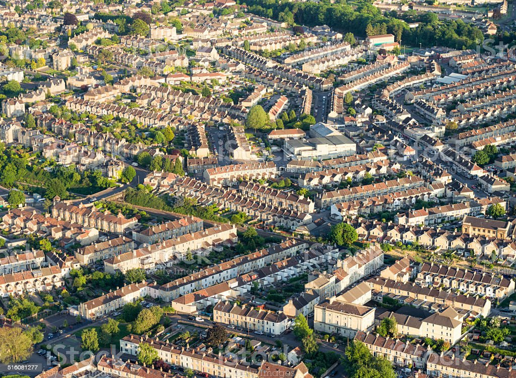 British housing from the air stock photo