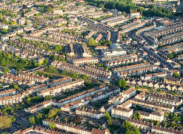 British housing from the air Aerial view of residential streets in the English city of Bath, Somerset. somerset england stock pictures, royalty-free photos & images